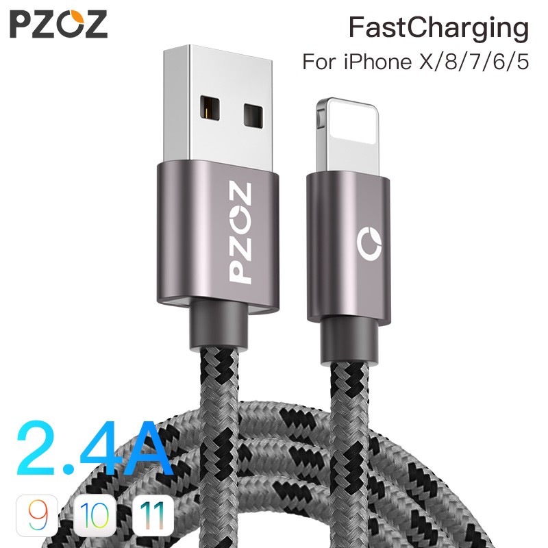PZOZ USB Cable for apple iphone Xs MAX 6 plus 7 6s X 5 se ipad mini USB Fast Charging Data Cable cord 8 Pin mobile phone cables 1