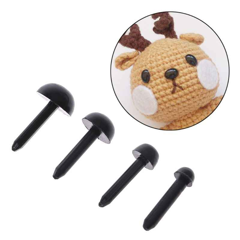 100Pcs 3mm/4mm/5mm/6mm DIY בובת בובות פלסטיק שחור פין בטיחות עיני בעבודת יד דובון בובת מלאכת ילדי ילדי צעצוע עשוי-9
