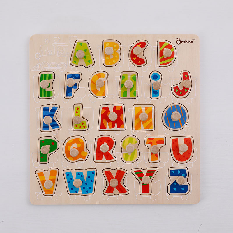 Childrens Education Toys Alphabetic Cognitive Puzzles Wooden Learning ABC Alphabet Letter Cards Puzzles Toys 2018 New Style