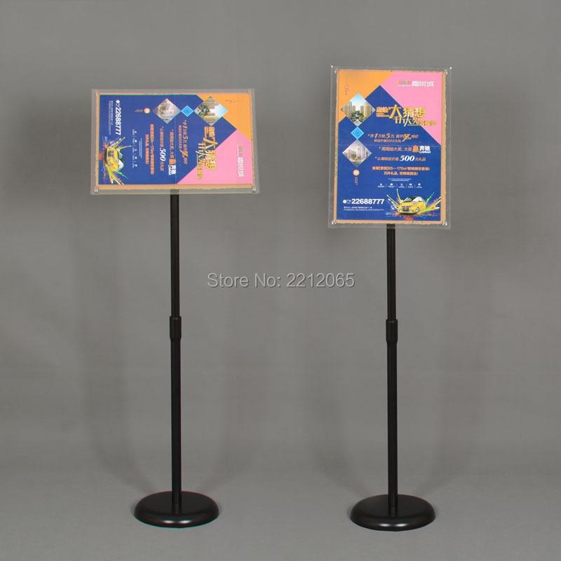 Adjustable A4 Information Display Pedestal Sign Floor Holder Stand Poster Silver