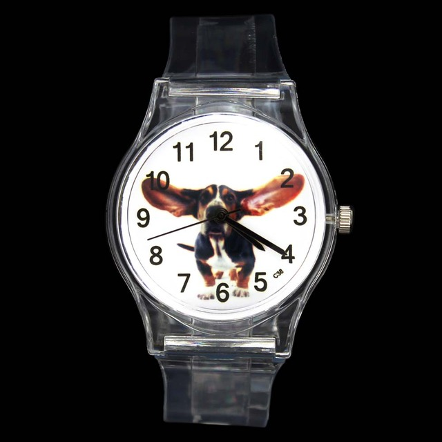 Big Ear Dog Funny Pet Novelty Animal Kids Children Cartoon Quartz Watch Boy Girl