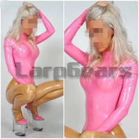Handmade sexy women pink with transparent latex bodysuits with socks crotch zipper