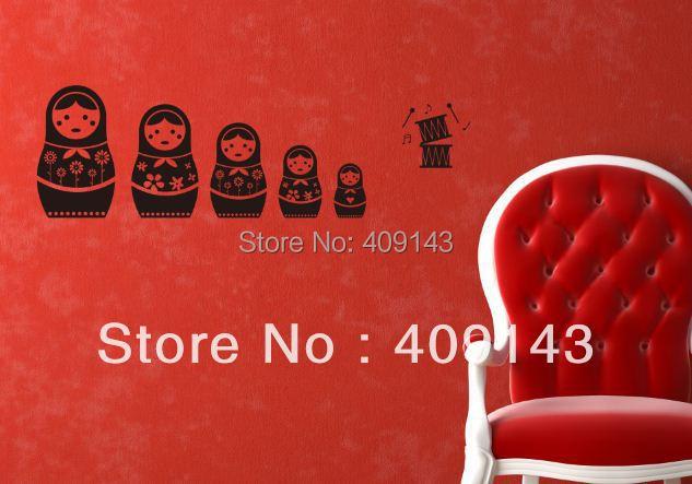 Holiday Sale Matryoshka RU Removable Vinyl Wall Sticker Art DIY 3D Decoration Home russian doll Free shipping