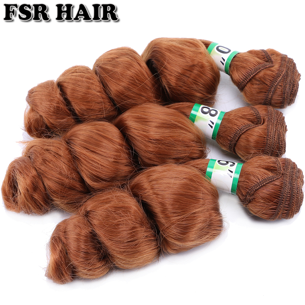 Image 5 - FSR 16 18 20 Inch 3 pcs/lot loose wave hair Weaving 613# double weft Synthetic hair ExtensionsSynthetic Weave   -