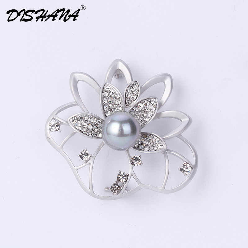 Dishana Brooches for Women Stimulated Pearl Brooch Pin Women Fashion Jewelry Safety Pines Metalicos Flower Pins Et Broches Bijou