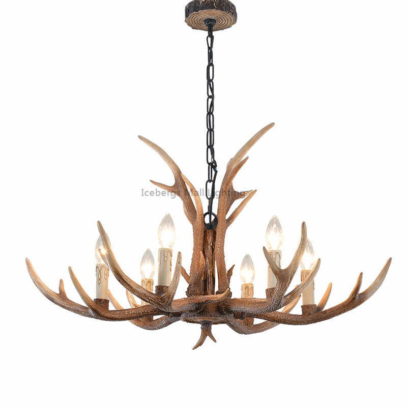 American Country Brown Resin Chandelier Lighting Novelty Antler Lustre for Dining Room Modern Avize Luminaire Living Room Lights