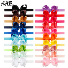 AHB 20pcs/lot Nylon Headband for Baby Girls Handmade 4.5 Grosgrain Ribbons Bowknot Cute Kids Headwrap Party Hair Accessories