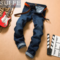 SULEE Brand 2016 new fall autumn and winter Men's Casual Solid Jeans Full Length Slim high quality cotton trousers