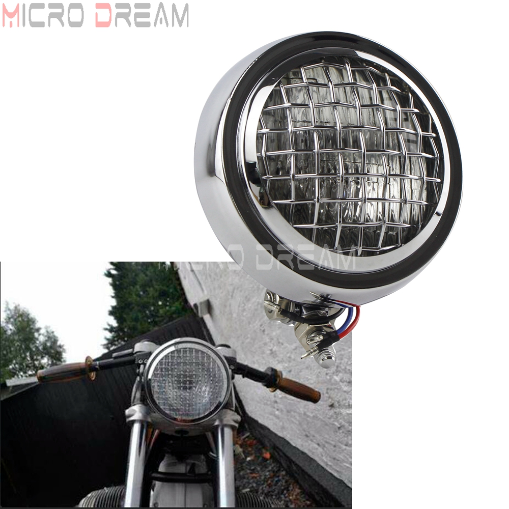 Chrome Retro Cafe Racer Headlight 4.5'' 12V 60W Head Lamp Custom Sealed Beam Lights For Harley Sportster Chopper Softail Bobber