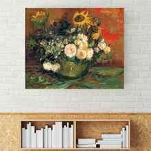 Home Decoration Still Life Wall Art Canvas HD Print Warm Sun Flower Magnolia Van Gogh Painting for Dining Room Office Decor