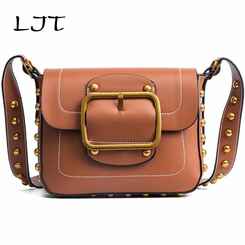 LJT Women PU Leather Shoulder Bag Female Rivets Metal Frame Crossbody Messenger Bag Lady Personalized Cell Phone Purse Wallet