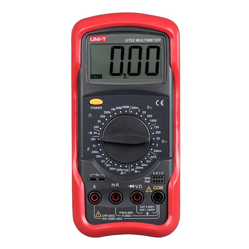 UT52 2.8'' LCD Digital Multimeter Portable Voltmeter Tester Meter AC/DC Multimeter Ammeter Multitester UNI-T мультиметр ut61d lcd multitester ac dc