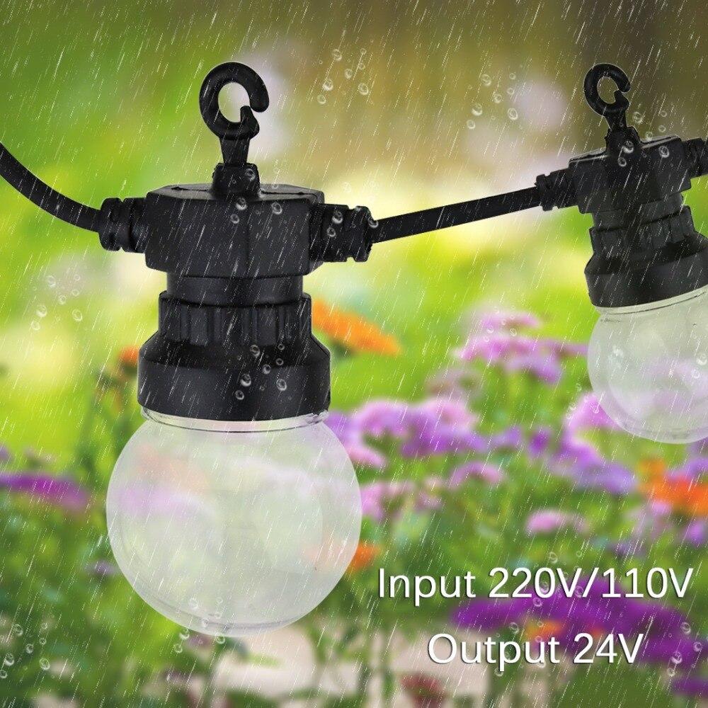 13M Outdoor Waterproof LED String Lights 20 Globe Bulbs Holiday Garden Festoon Wedding Party Garlands Christmas Decorative JQ