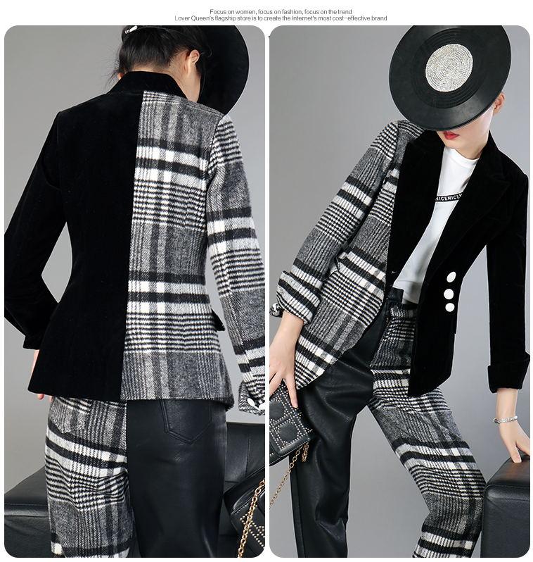 Velour Patchwork Wool Plaid Blazer Coat Female Long Sleeve Asymmetrical Women`s Suits 2019 Spring Fashion Clothes MA19 (3)