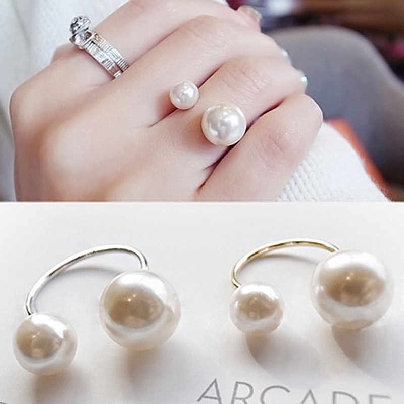 Women Open Rings Simulated Pearls Rings Adjustable Fashion Jewelry Wedding Engagement Finger Ring