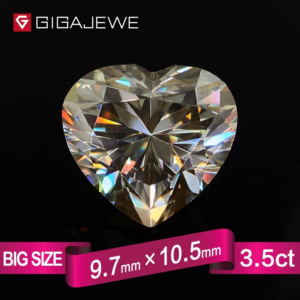 GIGAJEWE сердце с желтовато синтетический Муассанит 3.5ct 10 мм Gem делая Модные украшения настроить подруга подарки