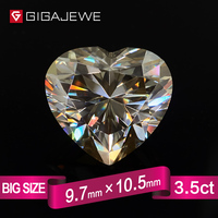 GIGAJEWE Heart Cut Yellowish Color Moissanite Stone 3.5ct 10mm Gem Making Fashion Jewelry Customize Beads DIY Girlfriend Gifts