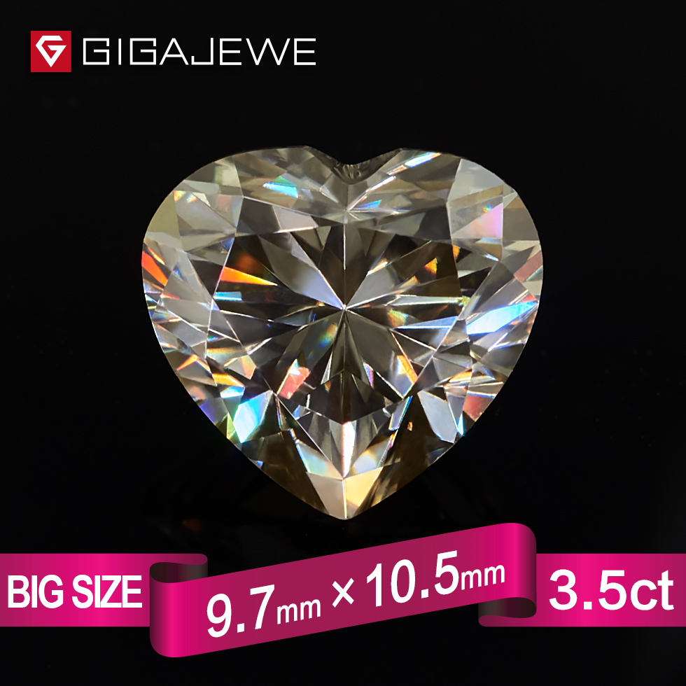 GIGAJEWE Heart Cut Yellowish synthetic moissanite 3.5ct 10mm Gem Making Fashion Jewelry Customize Girlfriend Gifts