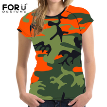 FORUDESIGNS Summer Women T Shirt Camouflage Prints Brand Feminine Clothes Woman Tops T-shirt For Girls O Neck Female Shirt Tees