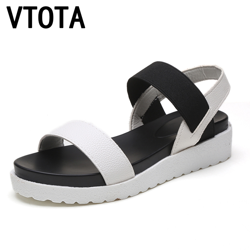 VTOTA Women Sandals Shoes Woman 2018 Peep-Toes Casual Flat Roman Sandals White Black Summer Platform Shoes Sandalias Mujer X278 vtota 2017 fashion wedges women sandals bling summer shoes woman platform sandalias soft leather open toe casual women shoes r25
