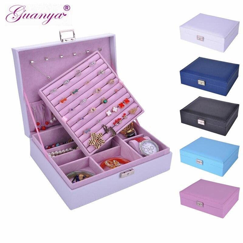 Guanya mujeres de cuero rectangular anillos de embalaje pendientes organizador de almacenamiento caja de exhibición exquisita caja de joyería de viaje regalo