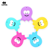 1pcs Octopus Baby Teether Food Grade Soft Silicone Beads Cute Animal Teething Necklace For DIY Pacifier Clip Nursing Chain(China)