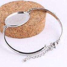reidgaller 10pcs fit 18x25mm oval cabochon bracelet blanks diy cameo bezel settings for bracelets making accessories