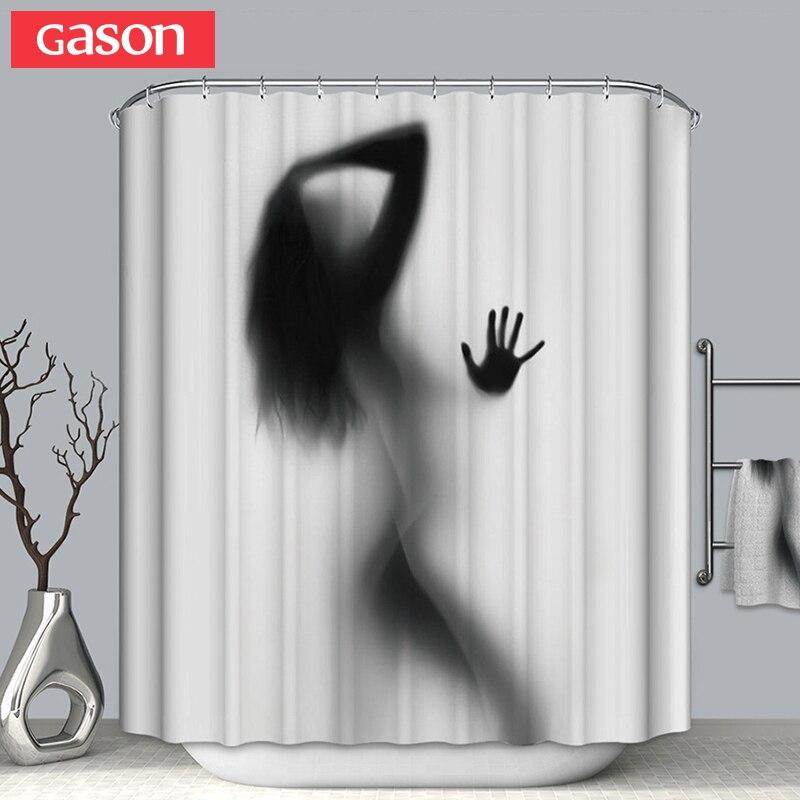 GASON Salle De Bains rideau de Haute Qualité Nature Étanche Polyester 2 m Tissu fille de la femme de L'ombre Simple rideau De Douche NOUS Portrait