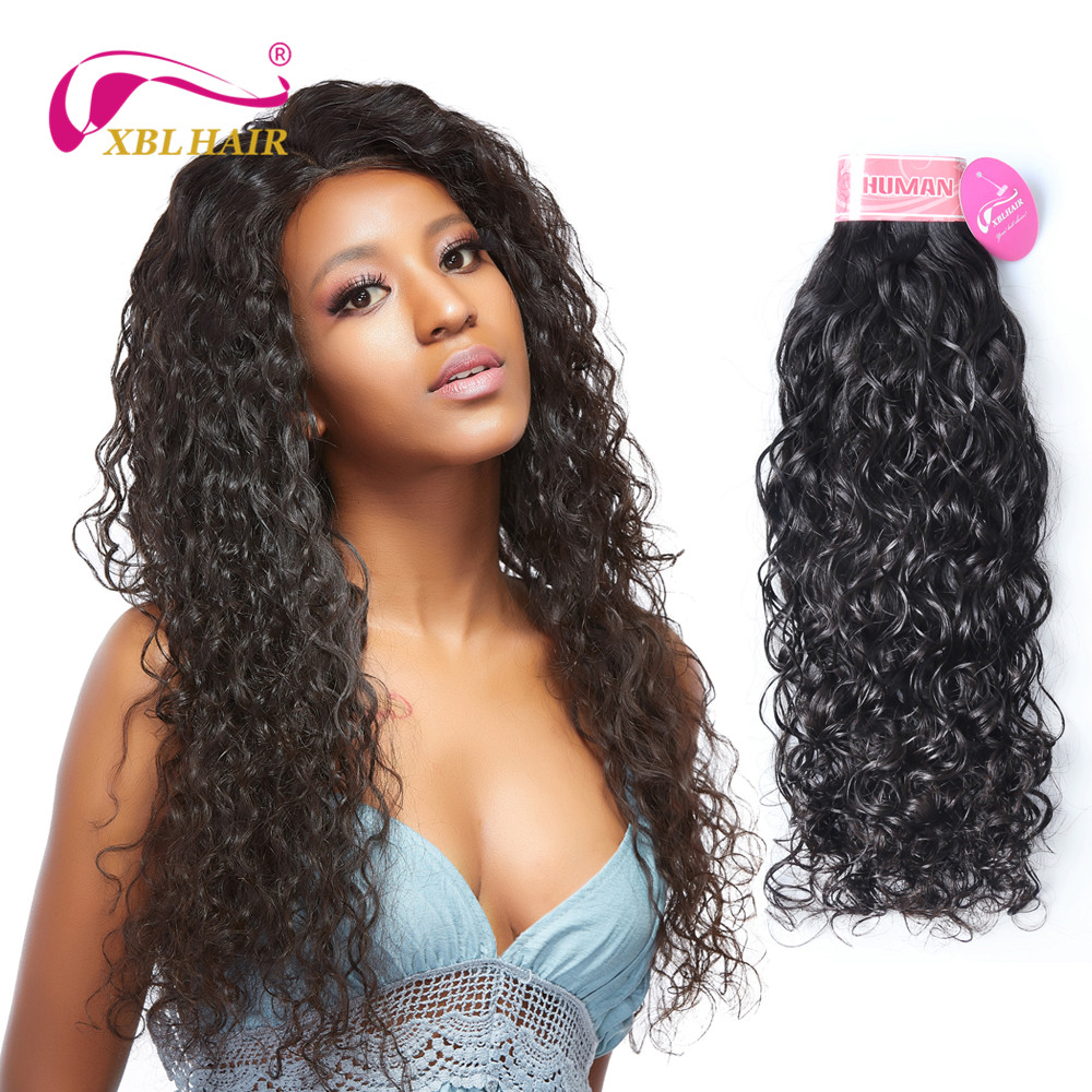 XBLHAIR Brazilian Human Hair Water Wave Hair Bundles 1pc/lot Natural Color Hair Extensions Remy Weaves 8-28 Free Shipping