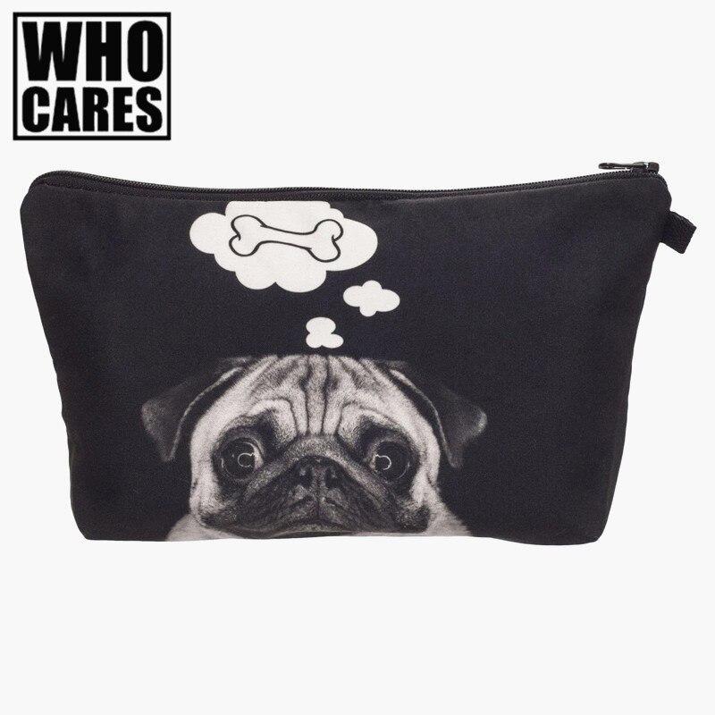 Dog bone 3D Printing makeup bag necessaire women cosmetic bag neceser para mujer trousse de maquillage estuche maquillaje bags