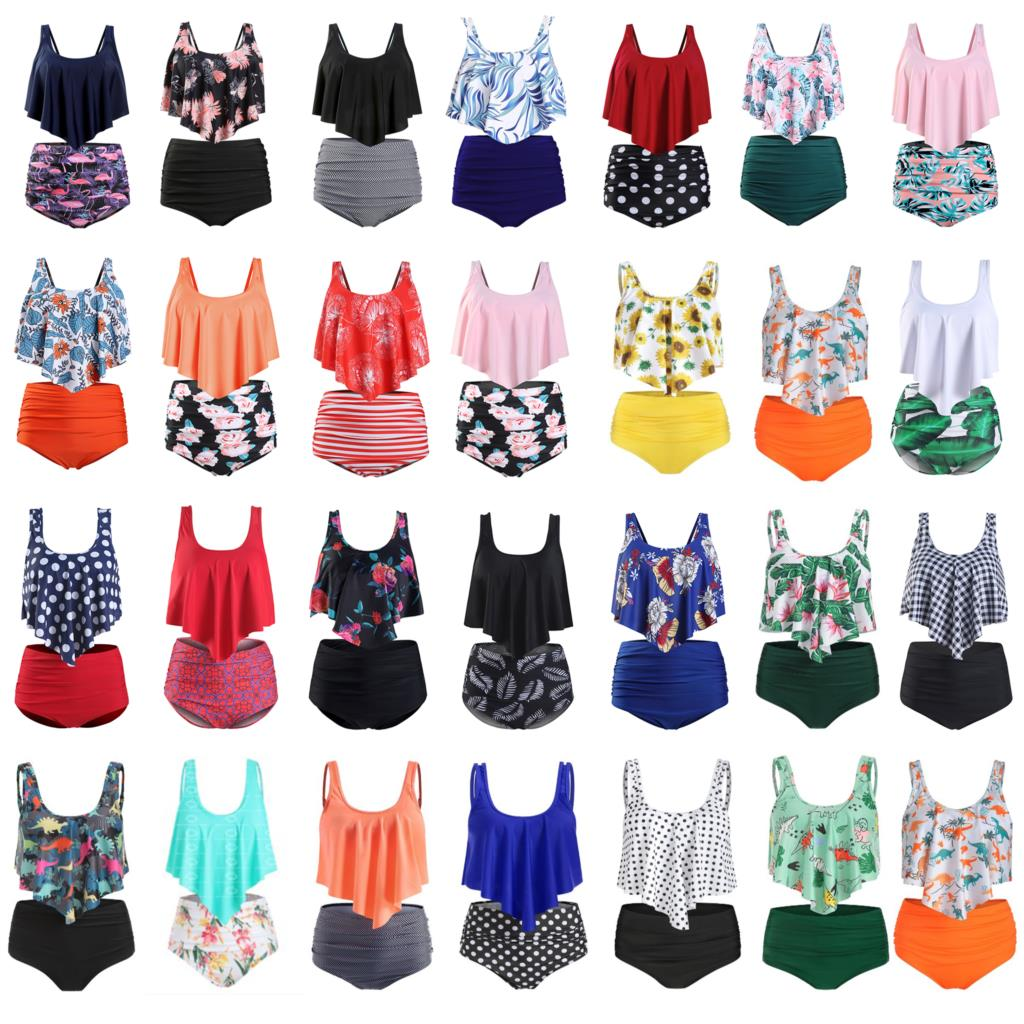 Plus Size Swimwear Summer Swimsuit Flamingos Beach Bathing Suit Ruffle Bikini 2