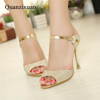 Summer Women Sandals Fashion Gold Silver High Heels Sandals Beautiful Women Shoes Open Toes