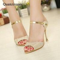 Summer Women Sandals Fashion Gold Silver High Heels Sandals Beautiful Women Shoes Open Toes