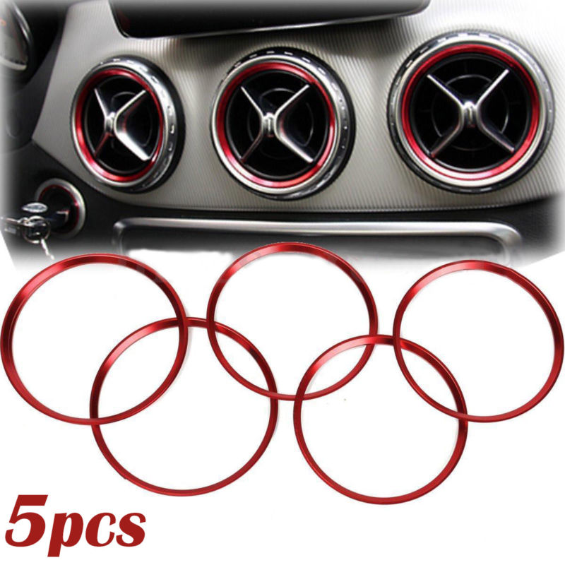 5Pcs 5PCS Red Car Air Vent Outlet Ring Cover Trim Decoration For <font><b>Mercedes</b></font> Benz A/<font><b>B</b></font>/CLA/GLA Class <font><b>180</b></font> 200 220 Car Style image