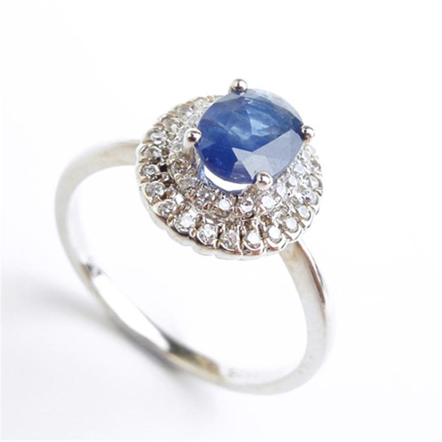 Mode 925 bijoux en argent Sterling bagues pour femmes taille 6.75 véritable naturel bleu gemmes perle de fiançailles bague de mariage - 5