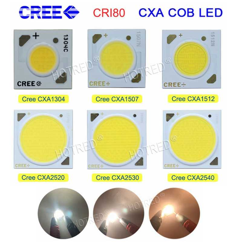 2pcs Original Cree CXA 10W CXA1304, 15W CXA1507, 24W CXA1512 65W CXA2530 Cold / Warm White 5000K, 3000K COB Led XLamp Chip Light