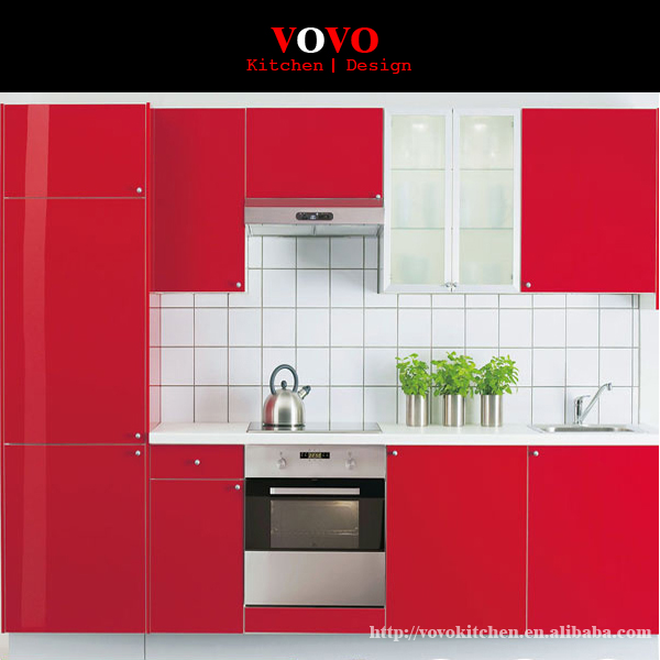 2016 Hot Sale Prefab Red Lacquer Kitchen Cabinet