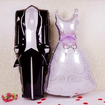 1pc 118cm long Bride Groom Man's suit Wedding Dress Foil Balloon Wedding Party Decoration