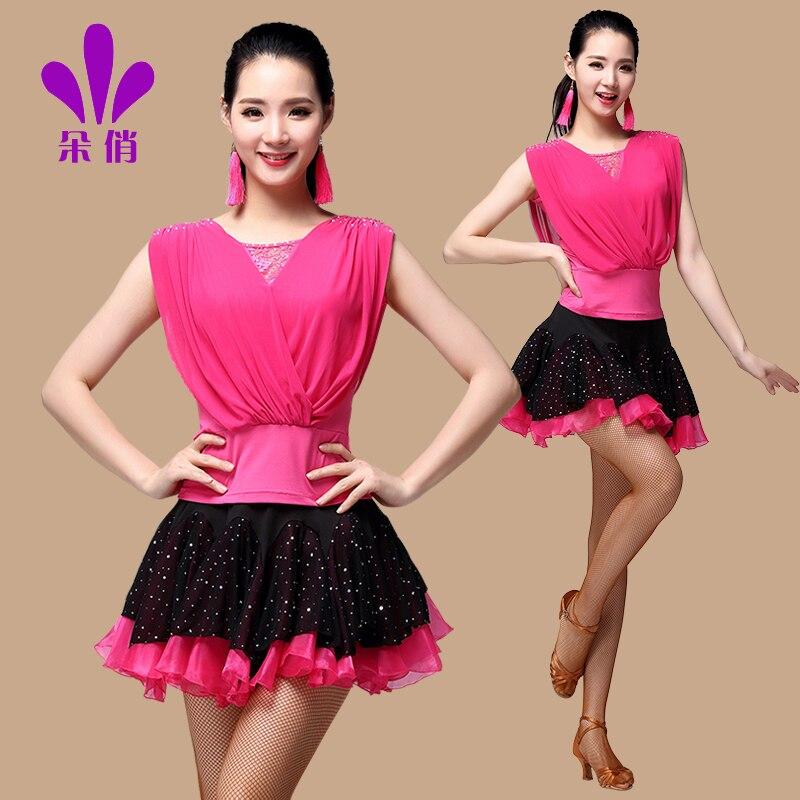 Lady Flower Square Dance Suit Plus Size Women Summer Dance Costume Shirt Skirt Female Latin Dance Clothing 2pcs Set B-4297