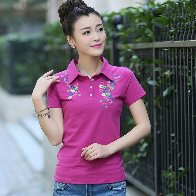 Embroidery Short Sleeve Cotton Polos Femmes Women Shirts 2016 Summer Poloshirts Mother Chemise Polo Sexy Pour Femme Dames