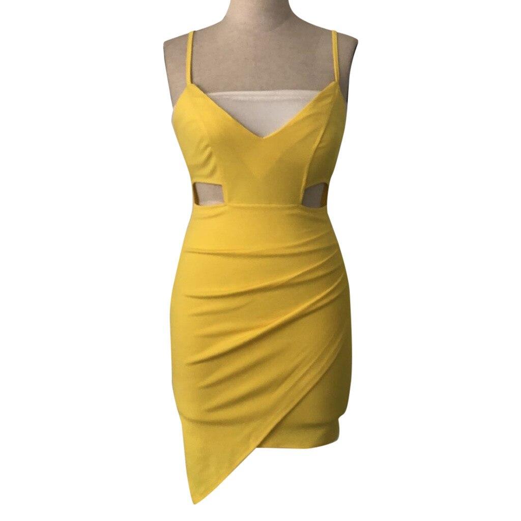 HTB1HKeKQwHqK1RjSZFgq6y7JXXaa Pure Color dress women summer 2019  Sleeveless Deep V Tight Fitting  Camisole Buttock casual dress spring sukienka vestidos#G9