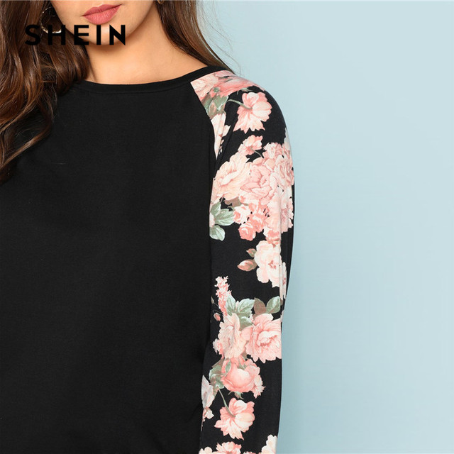SHEIN Floral Print Raglan Sleeve Casual Plus Size Black Womens Top Tees 2018 Autumn New Round Neck Long Sleeve Workwear T Shirt 3