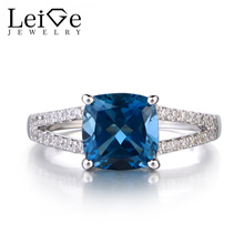 Leige Jewelry London Blue Topaz 925 Solid Silver Ring November Birthstone Gemstone Cushion Cut Promise Rings for Women