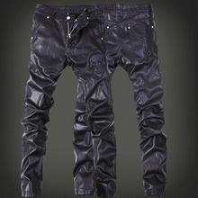 Модные брендовые кожаные брюки с вышивкой, мужские брюки, DJ Club, кожаные штаны для пробежек, велоспорта, локомотив, мужские кожаные штаны на молнии