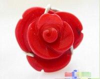 Бесплатная доставка> настоящая природа 16 мм Карвен красный коралл 925 серебряное кольцо