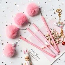 Stylo à dessin animé licorne rose, flamand rose, pompon, stylo à gel, matériel d'écriture, fournitures scolaires de papeterie kawaii