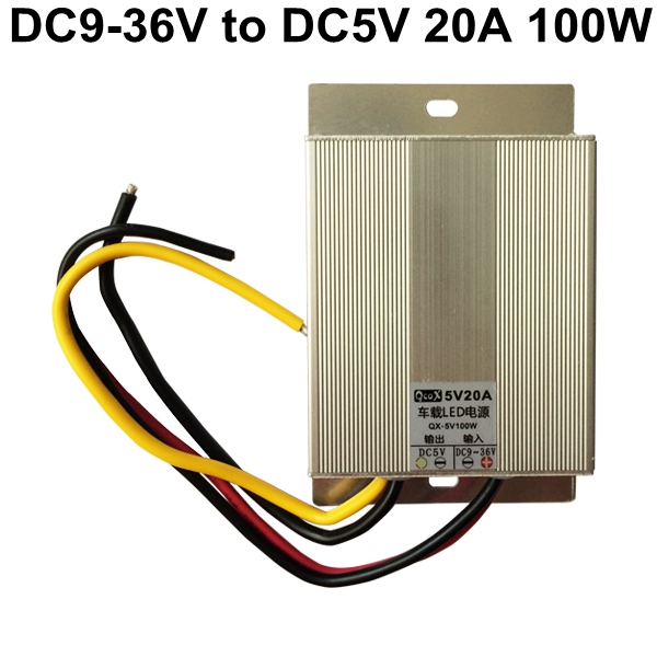 12V 24V to 5V 20A 100W DC to DC Converter Buck Module Regulator Car/bus LED Power Supply step down voltage DC5V transformer