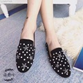 2017 New Arrival Round Toe Flat Shoes for Women Rhinestone Stars Casual Black Suede Slip on Shoes