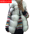 Plus size 2017 winter new fashion women high quality natural white cross fox fur whole leather hooded fox fur vest