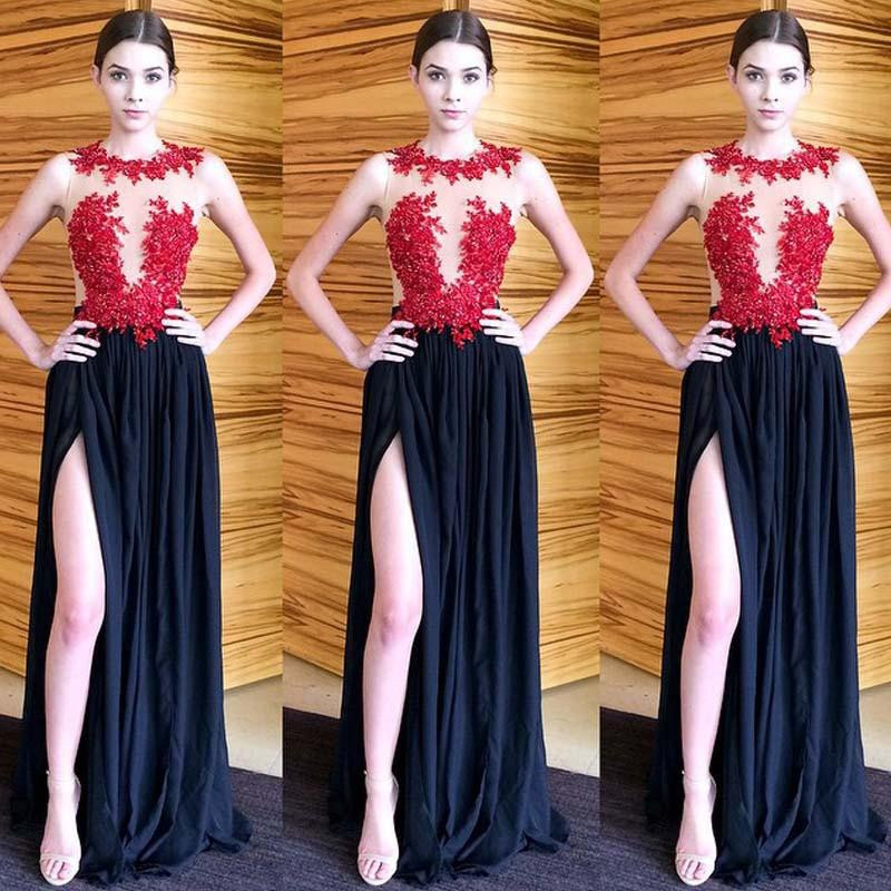 58dfce5a9528 Sexy 2017 Red Lace Navy Blue Crystal Prom Dresses Long Chiffon Custom Made  O-neck High Slit Backless kleider Gatsby Dress